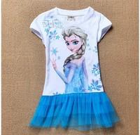 2014 New Frozen Girls Dress 2-6yrs Kids Summer Tee shirt Dress Elsa's style top Dresses 100cotton Child Hot sale AQZ020