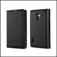 For Lg L7 II P710 P713 phone Genuine leather slim flip side stand case cover with black color  +  free shipping