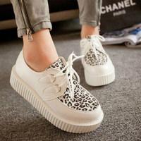 2014 spring platform lacing shoes leopard print color block decoration flat casual single shoes
