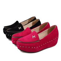 2014 spring velvet round toe rivet single shoes wedges elevator women's shallow mouth shoes flat