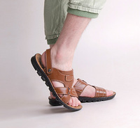 New arrive 2014 summer men's genuine leather black brown sandals breathable leather sandals fashion beach slippers