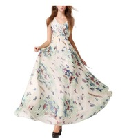 2014 NEW Women Cocktail Sleeveless V Neck Loose Butterfly pattern dress long