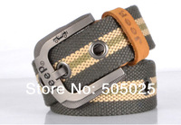 Free drop shipping new men's Belts canvas + Cowskin + Metal with First layer Leather edging buckle