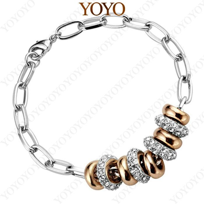 Fashion Brilliant Bright Platinum Plated Use Shining Austria Crystal Lucky Round 18K GP Pendant Bracelet (YOYO B011W1)(China (Mainland))
