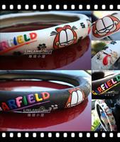 2014 Hot Sale Fashion Creative Garfield Pattern Unti-slip Auto Car Steering Wheel Cover Black/White Free Shippng