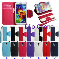 Luxury Rope handbag card slots wallet leather flip case for samsung galaxy S5 i9600,1pc by china post
