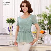 2014 short-sleeve chiffon shirt female summer top lace shirt plus size slim basic shirt