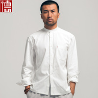 Spring and autumn 100% Cotton tang suit male chinese style slim small stand collar shirt