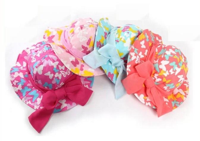2014 New Lovely Kids Baby Toddlers Girls Cotton Big Bowknot Sun Hats wide brim beach hat Children visor capsSize 1-4Years K232(China (Mainland))