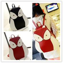 PU Women Casual Cartoon Backpacks Owl Character Leisure Travel Bags for Students and Ladies Casual Women Backpack Sports Bags(China (Mainland))