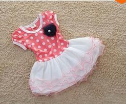 SJ228 Dark blue and pink short sleeve dots stripe flower kids girls fashion dresses girl dress 2013 summer free shipping(China (Mainland))