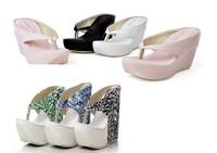 2014 lady  Summer  pumps sexy Leopard Platform Wedges High Heel Flip Flops Sandals women  Slippers big size 34-45 frees shipping