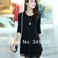 Women's 2014 spring  knitted lace plus size sweater long-sleeve dress