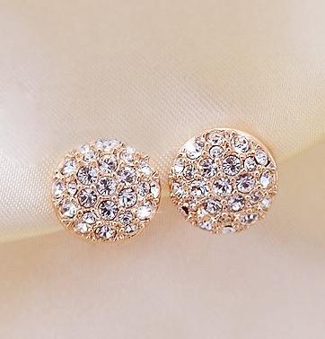 18KG Plated 2014 New Style Korean Elegant Gorgeous Sparking Rhinestone 18KGP Zircon Round Stud Earrings E3261(China (Mainland))