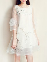 free shipping 2014 summer peach blossom fashion sweet three-dimensional lace flower a organza one-piece dress