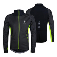 WOLFBIKE Black Winter Thermal Fleece Windproof/waterproof Long Sleeve Cycling Jersey Clothing Wear Reflective cycling jacket