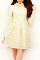 Sweet princess vintage   lace embroidery three-dimensional flower bow slim waist one-piece dress plus