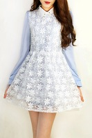 Sweet fresh small organza vintage rivet turn-down collar chiffon long-sleeve casual dress