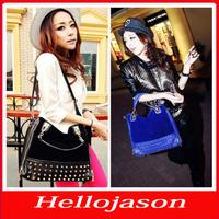 8003 Free shipping for retail by China post women's work bag casual leather handbags scrub rivet shoulder bag messenger bag