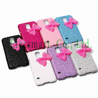 For Samsung Galaxy S5 SV G900 Glitter Bling Sparkle 3D Bow Knot Hard Plastic Snap-On Case Shell Cover