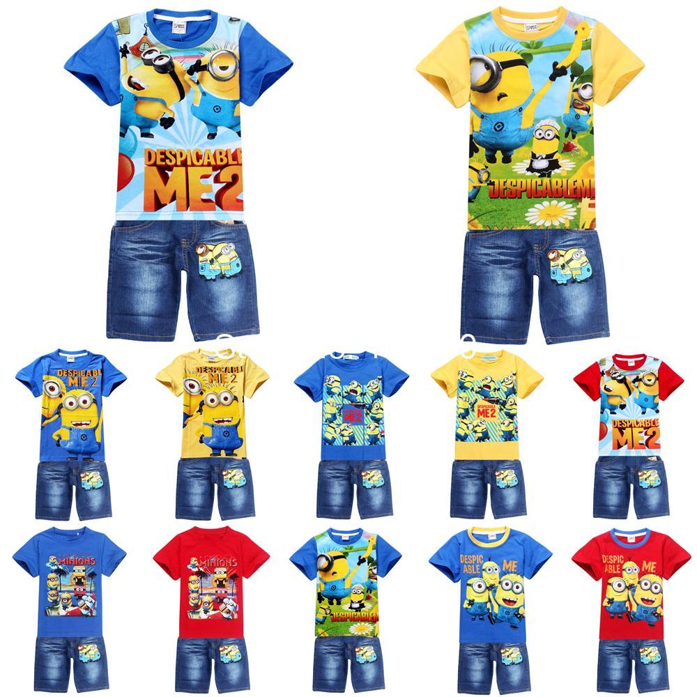 new 2014 fashion cartoon Despicable Me Minions children clothing sets,kids boys tops tees + short pants(China (Mainland))