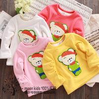 2013 clothing winter baby plus velvet long-sleeve T-shirt baby cartoon thickening sweatshirt basic shirt