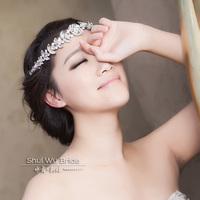 Rhinestone garishness bride wedding dress hair accessory style hair bands banquet formal dress hair accessory necklace