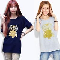Loose Plus Size M-XXL roupas femininas new 2015 casual short sleeve o-neck cute OWL print tee tops t shirt women camisetas C360