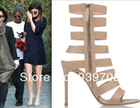 Summer 2014 New Women Strappy Shoefessional Nude Leather Gladiator High Heels Women Pumps Sandals Plus Size Wedding Shoes Woman