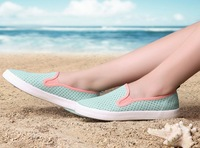 2014 the new breathable canvas shoes of hollow out flat version wear comfortable girl candy color slip-on shoes in summer