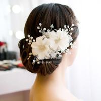 White crystal bridal hairpin handmade beaded red hair accessory the wedding pearl hair accessory wedding dress hair maker