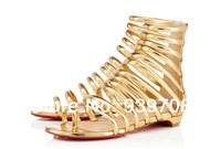 2014 New Sexy Open Toe Gladiator Sandals Red Sole Cut-outs Women Flats Plus Size Ankle Boots Brand Designer Summer Shoes Woman