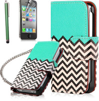 FOR Apple iPhone 4 4S 4G flip Black White Wave Hybrid Wallet Leather Stand Case Cover with meltal Chain + Free Shipping
