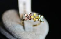 Korean fashion personality color four-leaf flower ring cute girl charm B24