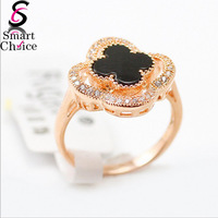 Elegant Four Leaf Clover 18K Real Rose Gold/Platinum Plated Wedding Lucky Ring Made with Genuine Austrian Crystals