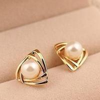 Accessories quality earrings all-match Women trigonometric pearl stud earring 3
