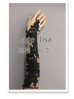 Brand New Gorgeous lace Flower Black fingerless Bridal gloves for wedding prom