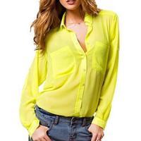Basic Long Sleeves V neck Casual Chiffon Atacado De Roupas Camisas Blusas Femininas Sheer Blouses with Pockets Shirt Women C363