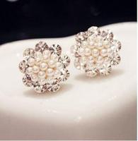 Accessories fashion elegant rhinestone all-match anti-allergic pearl stud earring earrings 3