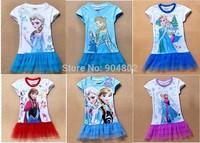 Wholesale 2014 New 2-8yrs Girls' Frozen Dress kid's cartoon summer dress girl's tutu girl's princess dress girl's lovable dress