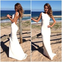 New White Watermelon Prom Dresses Bateau Sleeveless Open Back Sheath Long Length Vestidos De Fiesta Formal Gowns