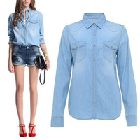 New 2014 Classic Womens Girls Spring Summer Autumn Casual Retro Vintage Long Sleeve Blue Jeans Denim Shirts Blouse Tops