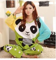 1 Set Womens spring cotton cartoon long sleeve+pants  lovely leisurewear suit / lady's plus size Sleepwear Pajamas Dropshipping
