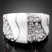 High Quality Pave Austrian Crystal White Enamel Platinum Plated Wedding Costume Ring J01076