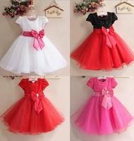 2014 New Elegant Girls Dress Summer Baby Party Princess Bow Sequins Gauze Tutu Veil dress Kids Formal Clothing Free Shipping