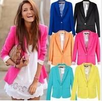 2014 women jacket blazer fashion style six color and five size women coat women suit blazer  one button shawl cardigan coat