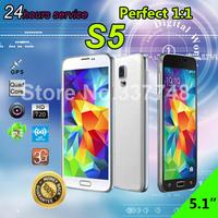 Full 1:1 Original S5 phone GT I9600 phone SV Mobile phone MTK6582 Quad Core Android 4.4.2 OS Original Logo under glass GPS Wifi
