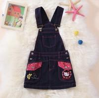 Retail 1pcs free shipping top quality kids sleeveless Cowboy dress child dress girl cartoon pattern denim dress