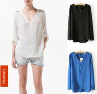 Fashion Chiffon Blouse Sexy Women New Cardigan Summer 2014 Top Casual Long Sleeve Loose Shirt Epaulette Rivet White/Black/Blue