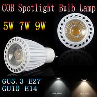 20pcs COB GU10 E27 E14 GU5.3 dimmable white/warm white 5w/7w/9w High power led Spotlight replace the Halogen lamp LED lamp light